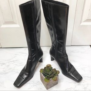 Nine West Black leather heeled boots, side zip